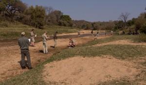 De plek van onze laatste ronde; een bijna drooggevallen rivierbedding