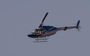 De helicopter waarmee boven Makalali tellingen van wild verricht worden...