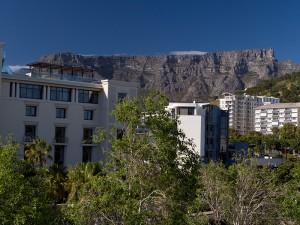 Uitzicht op Tafelberg vanuit de hotelkamer