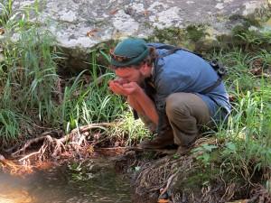 Cobus drinkt uit de rivier