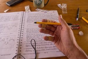 Vijf pennen en vier pleisters...